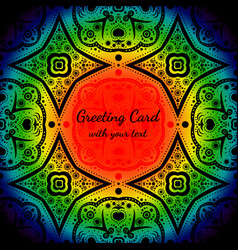 greeting card with rainbow color and black pattern vector image