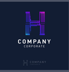 h company logo design with visiting card vector image