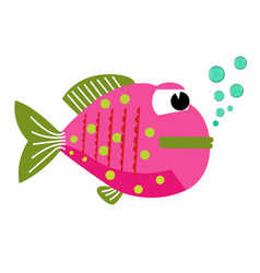 happy fish animal with bubbles cartoon character vector image
