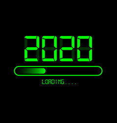Happy new year 2020 loading icon digital style vector