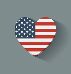 Heart-shaped icon with flag usa vector