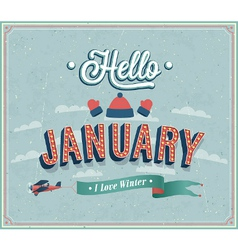 Hello january typographic design vector