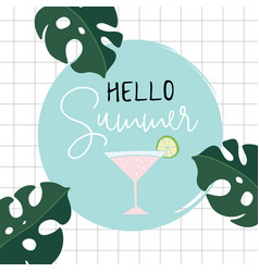 Hello summer retro greeting card invitation with vector