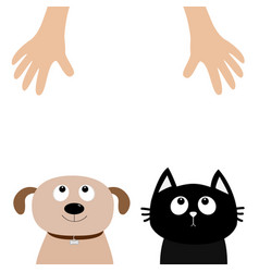 helping hand dog cat pet adoption puppy pooch vector image