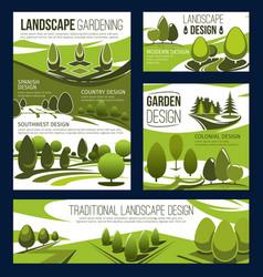 Landscaping service garden park landscape design vector