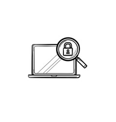 laptop with magnifying glass and padlock hand vector image