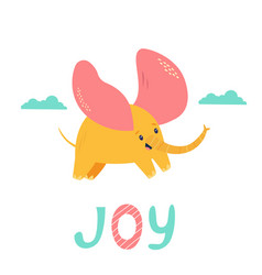 little elephant with big ears flying in sky vector image