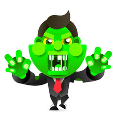 mad zombie runs after the victim happy halloween vector image