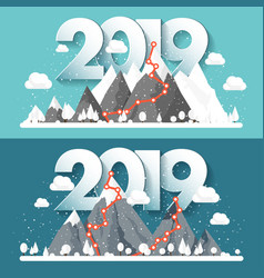 mountains in winter2019 peak with snow nature vector image