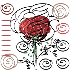 Nothing significant contour drawing rose card for vector image