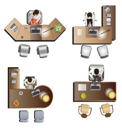 Office furniture top view set 6 vector image