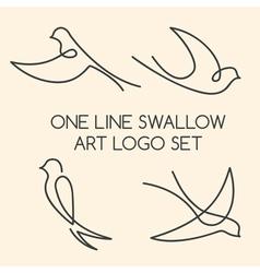 One line swallow art logo set vector