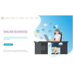 online business web poster processes in computer vector image