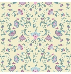 Oriental flowers pattern floral ornament on beige vector image