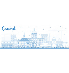 outline concord new hampshire city skyline vector image