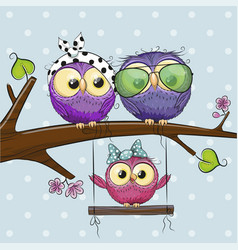 Owls on a branch and a chick on swings vector