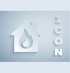 Paper cut fire in burning house icon isolated vector