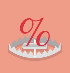 percentage sign mark in the trap vector image