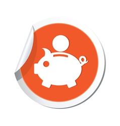 Piggy bank icon orange label vector