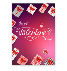 poster for happy valentines day calligraphic vector image