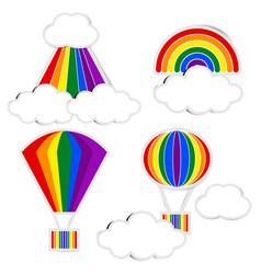 rainbow paper and cloud paper with shadow vector image