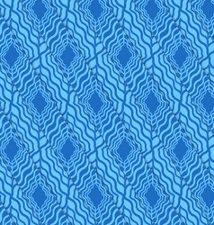 Retro 3D blue wavy diamonds vector