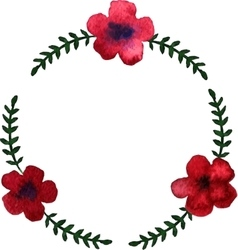 Round wreath with watercolor red flowers vector