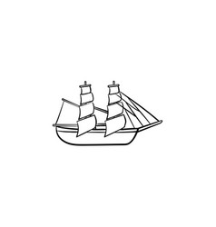 sailing ship hand drawn outline doodle icon vector image