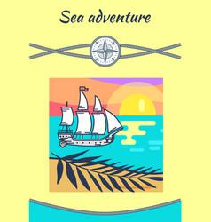 sea adventure yellow poster vector image