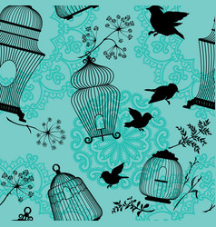 Seamless pattern with decorative bird cage black vector