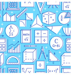Seamless pattern with mathematics symbols in line vector