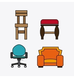 Set of colored chairs vector image