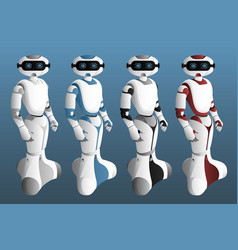 set of realistic robots vector image