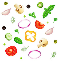 sliced vegetables seamless background isolated vector image vector image