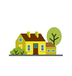 small cartoon lemon yellow house with trees vector image