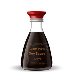 soy sauce in a glass bottle 3d realistic style vector image