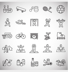 sport and healthy life thin line on white vector image