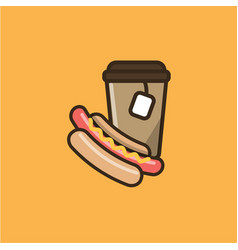 Tea hot drink and hot dog vector