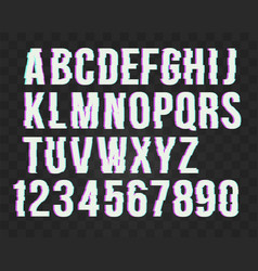 Trendy style distorted glitch typeface alphabet vector