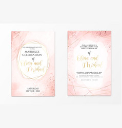 Wedding invitation template on dusty pink liquid vector