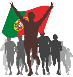 winner with portugal flag at finish vector image