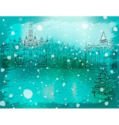 Winter Christmas Background Sketch vector