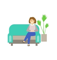 Woman visitor sitting on sofa coworking in vector
