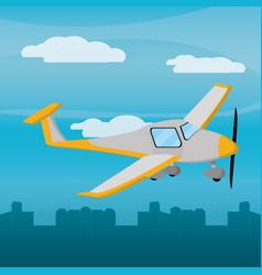 Yellow plane city daylight vector