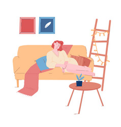 young woman in bathrobe relaxing on sofa at home vector image