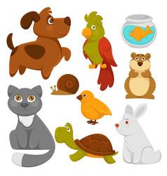 cartoon pets domestic animals flat icons vector image vector image