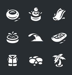 set of aqua park icons vector image