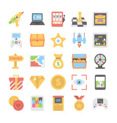 sports and games flat colored icons 8 vector image