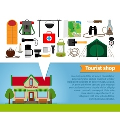 Tourist shop Tourism equipment tools for hiking vector image vector image