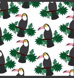 tropical bird toucan exotic seamless pattern vector image vector image